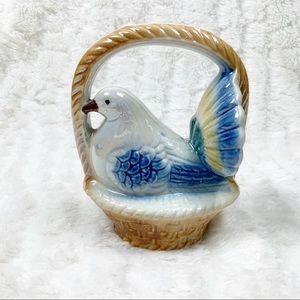VTG 1909 lusterware dove bird in basket Brazil
